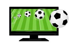 Fotboll på TV stock illustrationer