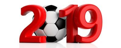 Fotboll fotboll 2019 Rött nytt år 2019 med fotbollbollen på vit bakgrund illustration 3d Royaltyfria Foton