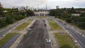 Fotboll runt om världen, Pacaembu stadionSao Paulo Brazil fotografering för bildbyråer