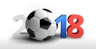 Fotboll Ryssland 2018 färgad 3d framför djärv bokstavsfotboll Arkivbild