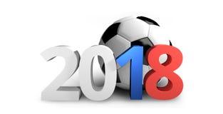 Fotboll Ryssland 2018 färgad 3d framför djärv bokstavsfotboll Arkivbilder