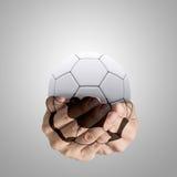 fotboll som bildar händer Arkivfoton