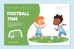 Fotboll som landar sidamallen Tecken för vektor för ungar för sportlag royaltyfri illustrationer