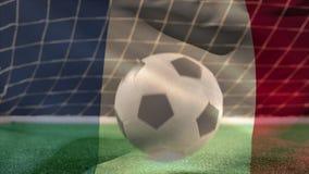 Fotboll som studsar på gräs stock illustrationer