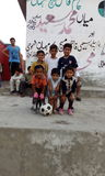 Fotboll Team Kid & x27; s arkivfoton