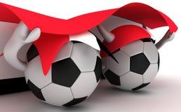 fotboll två för håll för bollegypt flagga stock illustrationer