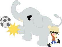 Fotboll vid elefanten Arkivfoton