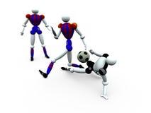 fotboll vol för 2 spelare Fotografering för Bildbyråer