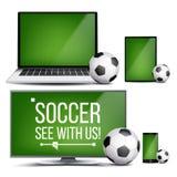 Fotbollapplikationvektor Fält fotbollboll Online-ström, bookmaker, sport modig App Banerdesignbeståndsdel live royaltyfri illustrationer