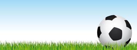 Fotbollbaner Fotbollsarenagräs och bakgrund för blå himmel Titelrad med fotbollbollen i rätsidan Royaltyfria Bilder