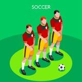 Fotbollbarriärsommar spelar den isometriska illustrationen för vektorn 3D Arkivbilder