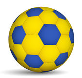 Fotbollboll blått-av gul färg Arkivfoto