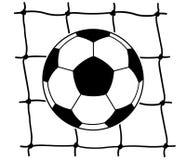 Fotbollboll i netto översikt Arkivbilder