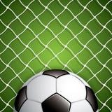 Fotbollboll i netto Arkivbild