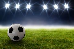 Fotbollboll i stadion Royaltyfria Foton