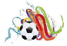 Fotbollboll med borsteslaglängder Arkivfoto