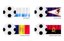 Fotbollboll med den Altai, American Samoa, Andorra och Republiken Angola, Angola flaggan Royaltyfri Fotografi
