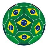 Fotbollboll med den brasilianska flaggan Royaltyfria Foton