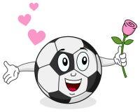Fotbollboll med det Rose teckenet Arkivbild