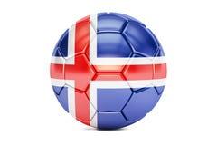Fotbollboll med flaggan av Island, 3D Fotografering för Bildbyråer