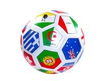 Fotbollboll med flaggor Fotografering för Bildbyråer