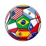 Fotbollboll med flaggor stock illustrationer