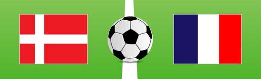 Fotbollboll med flaggor av Danmark och Frankrike Royaltyfria Foton