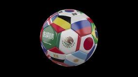 Fotbollboll med flaggor av länder av världen på genomskinligt, prores 4444 längd i fot räknat, alfabetisk kanal, ögla