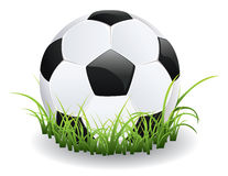 Fotbollboll med gräs stock illustrationer
