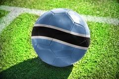 Fotbollboll med nationsflaggan av Botswana Fotografering för Bildbyråer