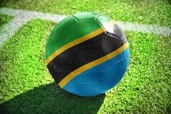 Fotbollboll med nationsflaggan av Tanzania Royaltyfri Foto