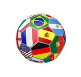 Fotbollboll med världscuplagflaggor royaltyfri illustrationer