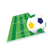 Fotbollboll och lekplatsfärgvektor Arkivbilder