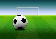 Fotbollboll och mål på fält stock illustrationer