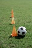 Fotbollboll och tratt. Royaltyfri Foto