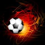 Fotbollboll på brand Royaltyfria Foton