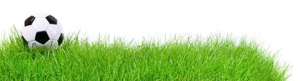 Fotbollboll på gräs - panorama arkivfoton