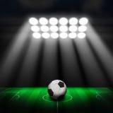 Fotbollboll på grön stadion Arkivbild