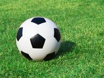 Fotbollboll på grönt gräs Royaltyfri Fotografi
