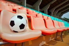 Fotbollboll på stadionplats Fotografering för Bildbyråer