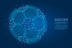 Fotbollboll som göras av punkter, linjer och upplysta polygonal former Fotbollboll på blå bakgrund med glödande stjärnor stock illustrationer