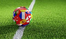 Fotbollboll som textureras med europeiska nationflaggor stock illustrationer