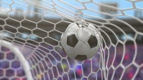 Fotbollbollen flyger in i målet vektor illustrationer
