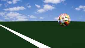 Fotbollbollen i färgerna av världscupdeltagarna korsar mållinjen, tolkningen 3d
