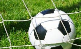 Fotbollbollen i mål förtjänar Royaltyfri Foto