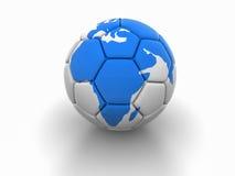 Fotbollbollen med bilden av världsdelar 3d framför Arkivbild