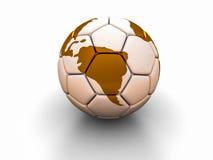 Fotbollbollen med bilden av världsdelar 3d framför Arkivbilder