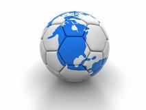 Fotbollbollen med bilden av världsdelar 3d framför Royaltyfri Bild