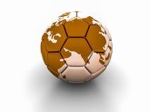 Fotbollbollen med bilden av världsdelar 3d framför Arkivfoton