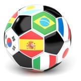 Fotbollbollen med flaggor 3D framför Arkivfoton